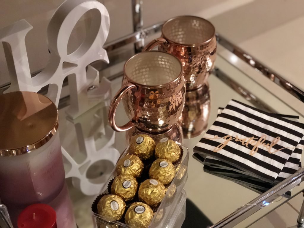 valentine's bar cart