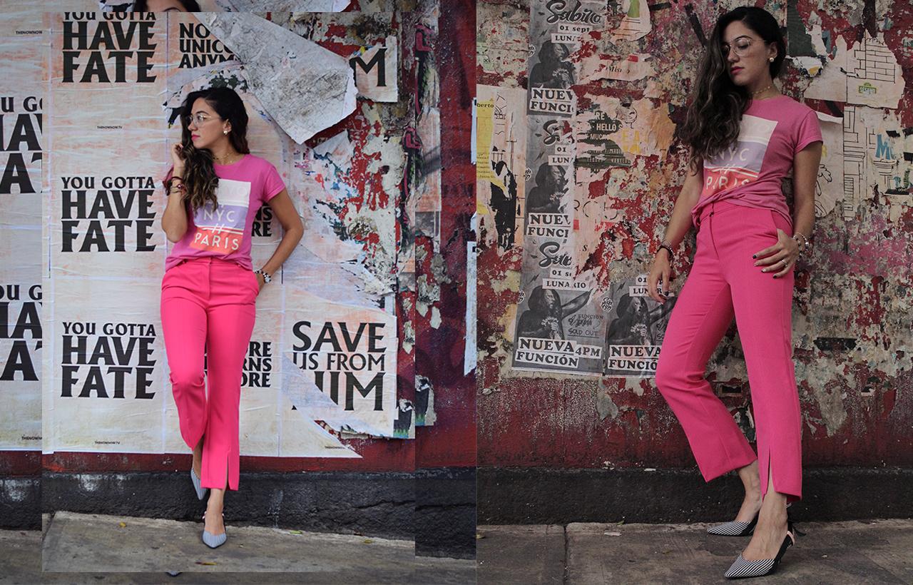 Pink monochrome look